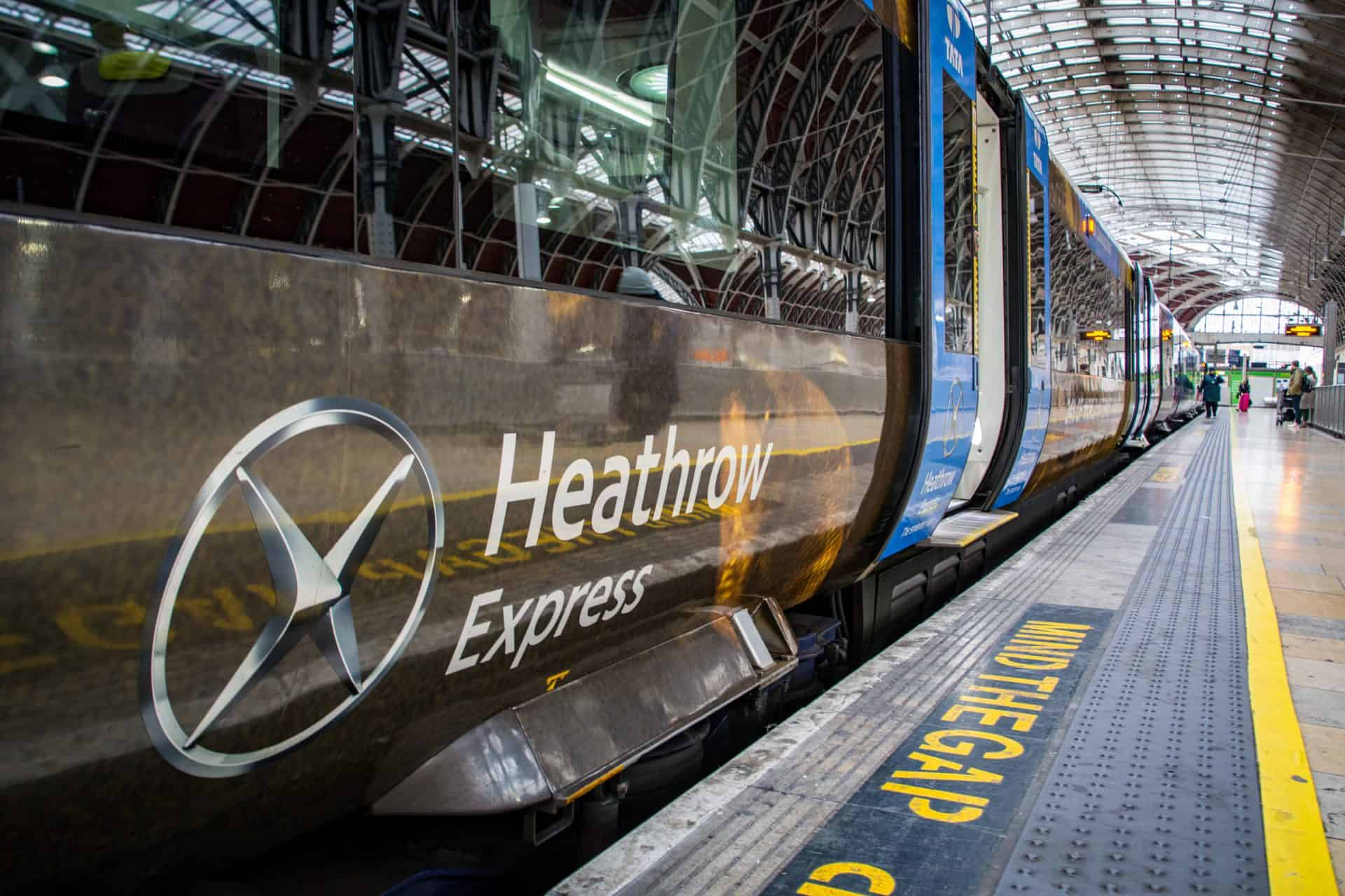 London- Heathrow Express train inside Paddington Station